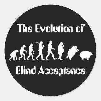 Evolución divertida de la parodia del hombre etiquetas redondas