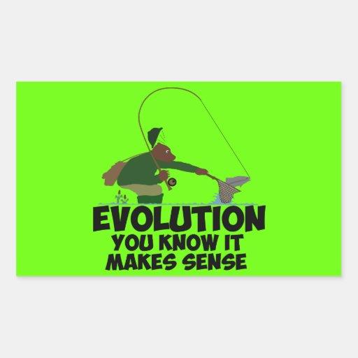 Evolución divertida pegatina rectangular