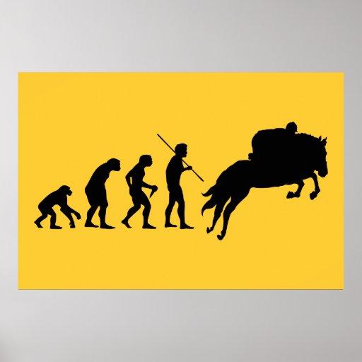Evolución ecuestre del hombre a a caballo póster