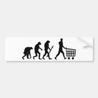 evolución humana de las compras etiqueta de parachoque