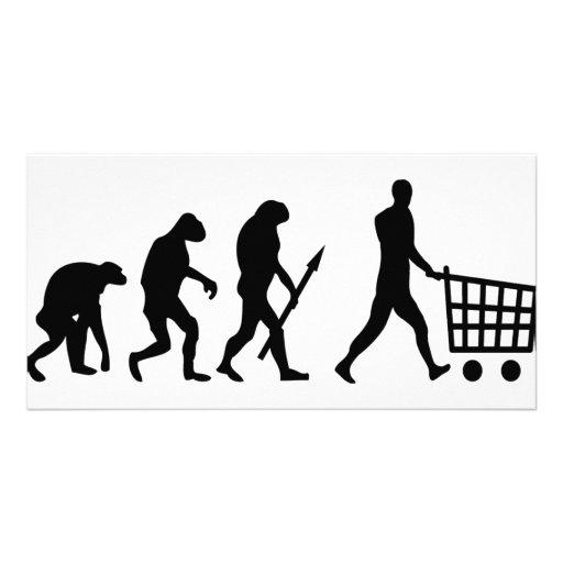 evolución humana de las compras tarjeta personal con foto