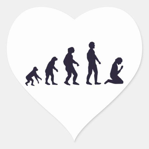 EVOLUCIÓN HUMANA, figuras, regalos Pegatina En Forma De Corazón