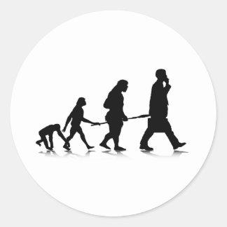 Evolución humana pegatina redonda