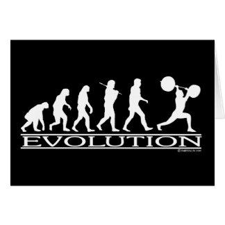 Evolución - levantador de peso tarjeta de felicitación