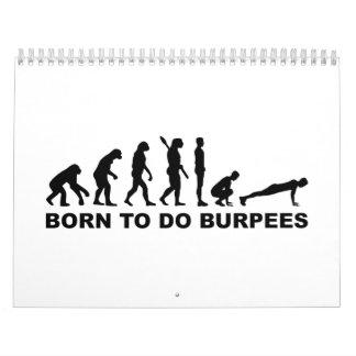 Evolución llevada a los burpees calendarios de pared