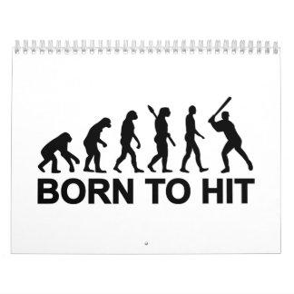Evolución llevada al béisbol calendario de pared