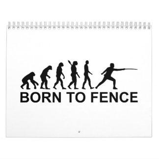 Evolución llevada para cercar el cercado calendario de pared