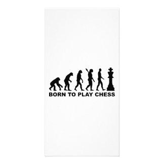 Evolución llevada para jugar a ajedrez tarjetas personales con fotos