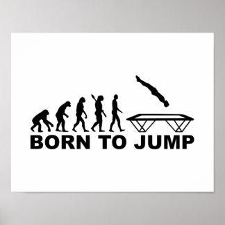Evolución llevada para saltar el trampolín póster
