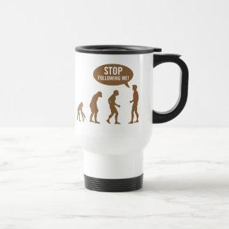 ¡evolución - pare el seguir de mí! taza de viaje de acero inoxidable