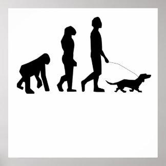 Evolución que camina del perro posters