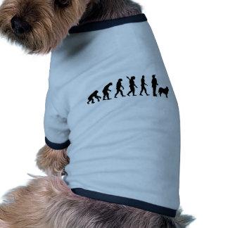 Evolución que reúne el perro pastor camiseta de perro