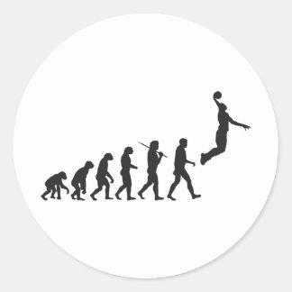 Evolución - salto del baloncesto pegatina redonda