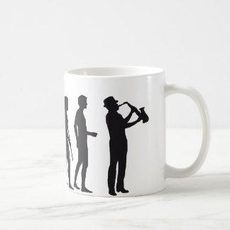 Evolución saxophon taza de café