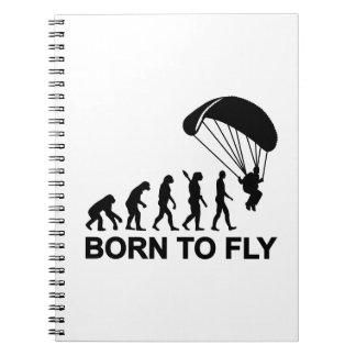 Evolución Skydiving llevado para volar Cuaderno