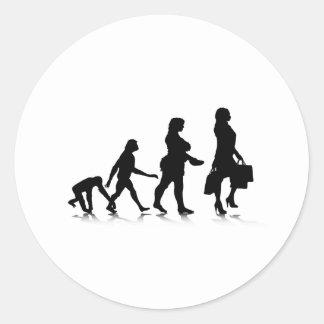 Evolution_10 humano pegatina redonda