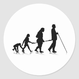 Evolution_3 humano pegatina redonda