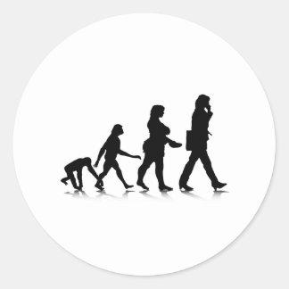 Evolution_7 humano pegatina redonda