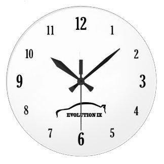 Evolution 9 Black Brushstroke Logo Large Clock