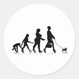 Evolution_9 humano pegatina redonda