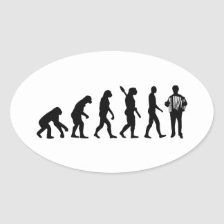 Evolution Accordion player Oval Stickers