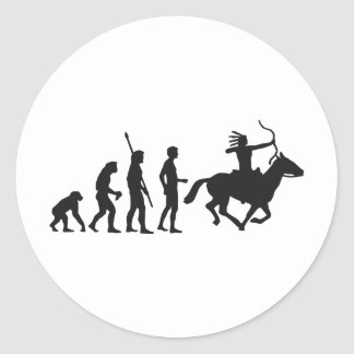 evolution amerindian round sticker
