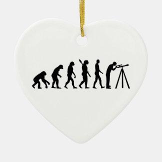 Evolution Astronomy telescope Double-Sided Heart Ceramic Christmas Ornament
