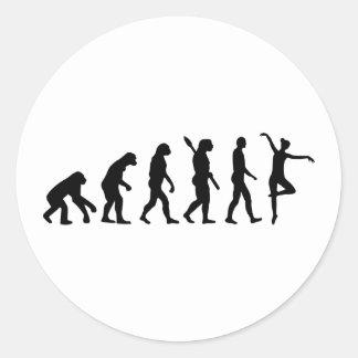 Evolution Ballet Ballerina Round Sticker