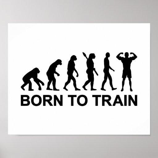 Evolution Bodybuilding born to train Print