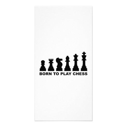 Evolution born to play chess custom photo card