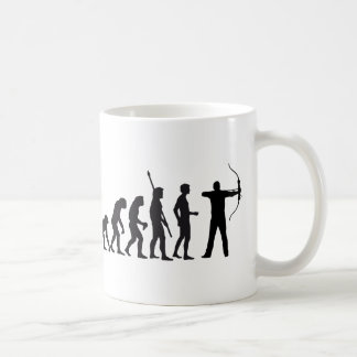 evolution bow and arrow coffee mug