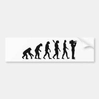 Evolution cameraman bumper sticker