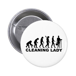 Evolution Cleaning lady Pinback Buttons