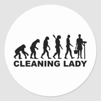 Evolution Cleaning lady Round Stickers