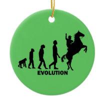 evolution cowboy ceramic ornament