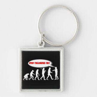 Evolution / Creation Stop Following Me Silver-Colored Square Keychain