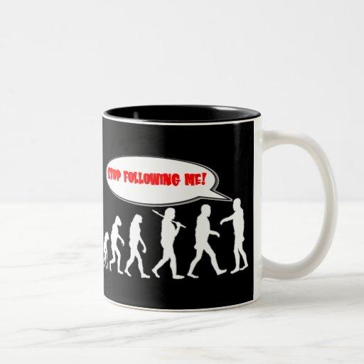 Evolution / Creation Stop Following Me Two-Tone Coffee Mug