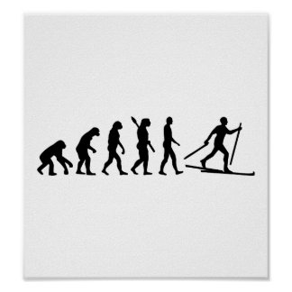 Evolution Cross country skiing Poster