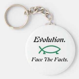Evolution-Darwin Fish Basic Round Button Keychain