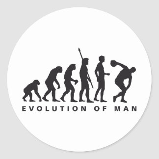 evolution discus more thrower classic round sticker