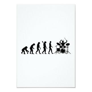Evolution drummer 3.5x5 paper invitation card