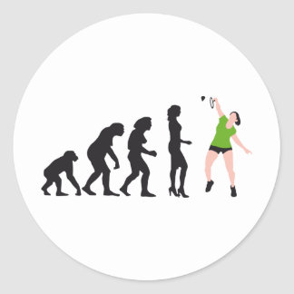 evolution female badminton player pegatina redonda
