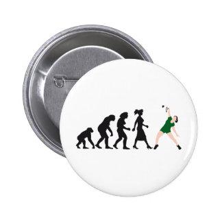 evolution female badminton player pin redondo de 2 pulgadas