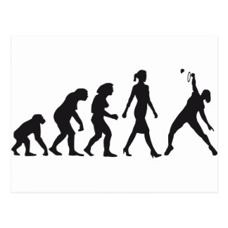 evolution female badminton player postales