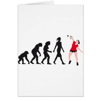 evolution female badminton player tarjeta de felicitación