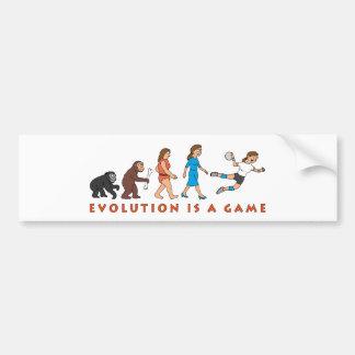 evolution female hand ball more player comic bumper sticker