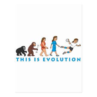 evolution female handball player comic tarjeta postal