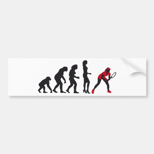 evolution female tennis bumper stickers