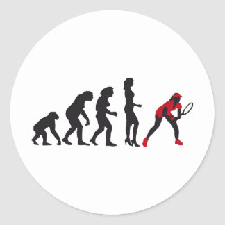 evolution female tennis classic round sticker
