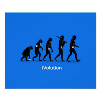 Evolution from Ape to Man with iPod Poster